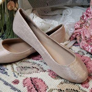 Beige sparkle ballet flats shimmer comfy shoes 8